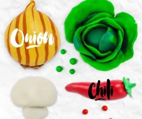 Funny plasticine vegetables vector set 05