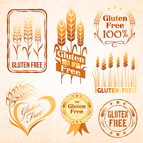 gluten free logos with labels vector 04 vector label