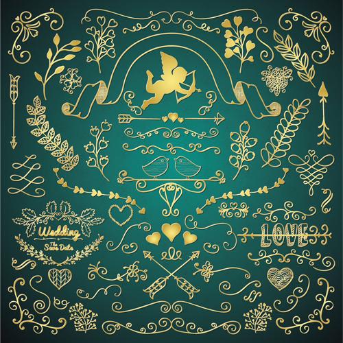 Golden Valentine Day decor elements vector 01