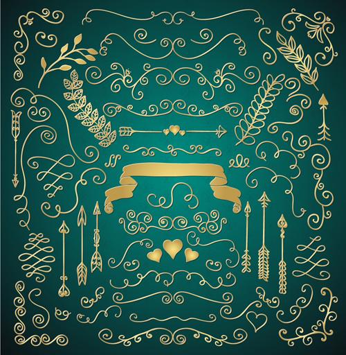 Golden Valentine Day decor elements vector 02
