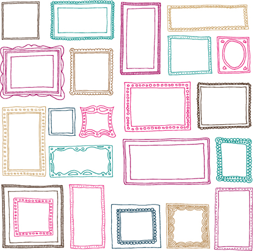 hand drawn colored frame vector material