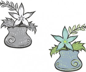 Hand drawn flowers in pot vector material 02