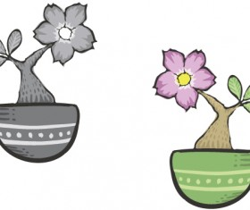Hand drawn flowers in pot vector material 04