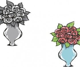 Hand drawn flowers in pot vector material 05