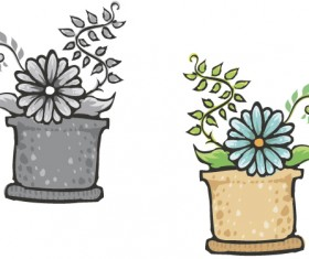 Hand drawn flowers in pot vector material 06