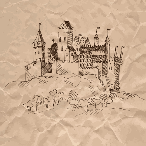 Crumpled paper vector for free download hand drawn medieval buildings and crumpled paper vector 13 stopboris Choice Image