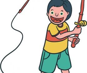 Happy boy cartoon vector material 03
