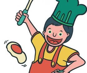Happy boy cartoon vector material 04
