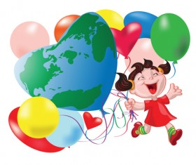 Happy kid with colored balloons vector