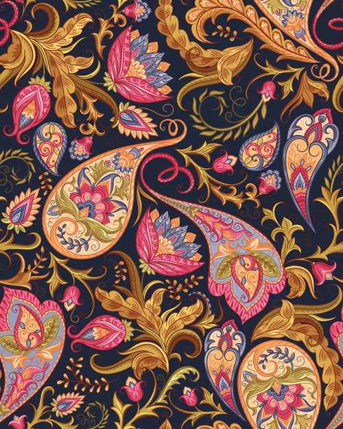 Indian Paisley Seamless Pattern Vector Material 04