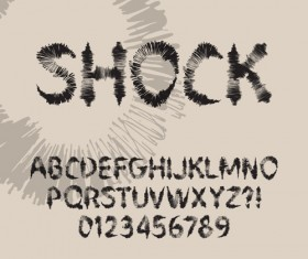 Ink alphabet with numbers hand drawn vector 03