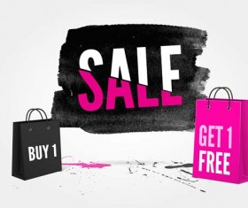 Ink marks with sale elements background vector 01
