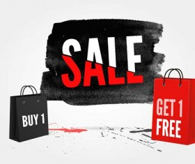 Ink marks with sale elements background vector 02