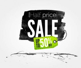 Ink marks with sale elements background vector 03
