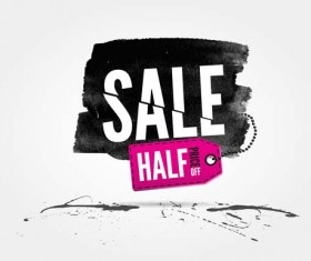 Ink marks with sale elements background vector 08