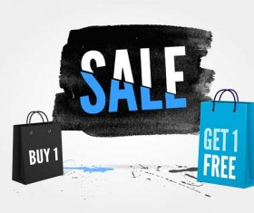 Ink marks with sale elements background vector 09