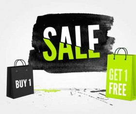 Ink marks with sale elements background vector 10