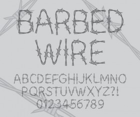 Barbed Wire alphabet with numbers vector
