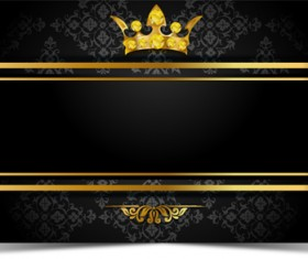 Luxury VIP golden with dark background vector 04