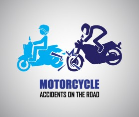 Motorcycle accidents caution logos vector 01