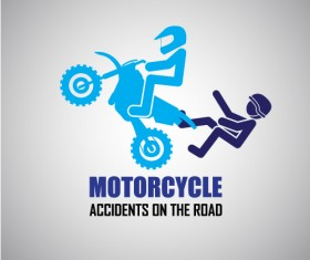 Motorcycle accidents caution logos vector 02