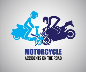 Motorcycle accidents caution logos vector 03