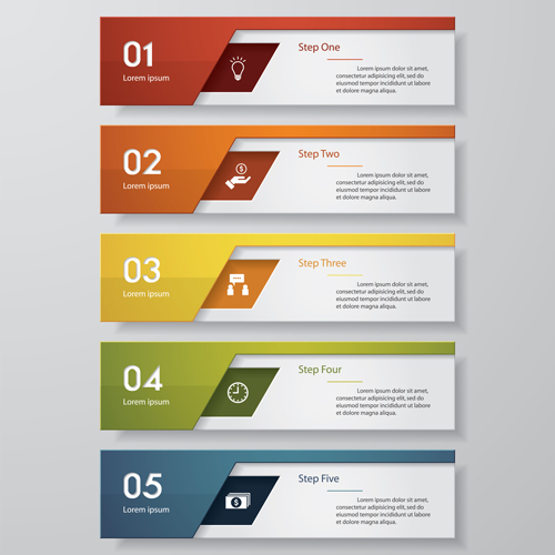 numbered banners modern template vector 05 free download