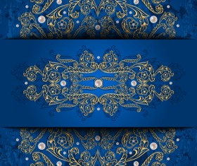 Ornate blue background with gold decorative vector
