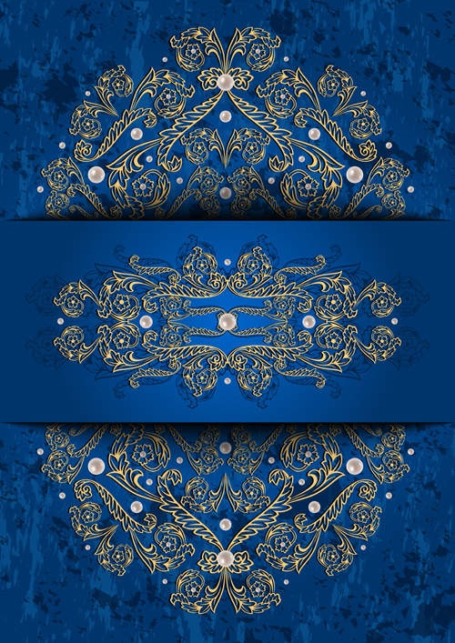 ornate blue background with gold decorative vector free download