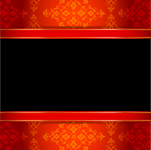 Ornate red with black background vectors 01