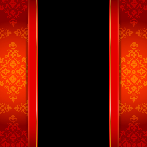 Ornate red with black background vectors 03