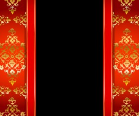 Ornate red with black background vectors 04