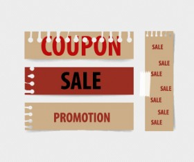 Paper banners sale elements vector 01