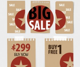 Paper banners sale elements vector 02