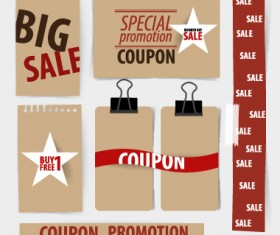 Paper banners sale elements vector 03