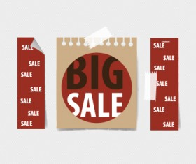 Paper banners sale elements vector 05