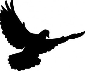 Peace dove silhouette vector illustration 03
