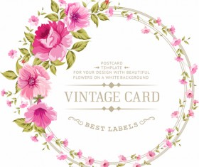 Pink flowers with vintage cards vectors 01