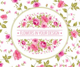 Pink flowers with vintage cards vectors 02