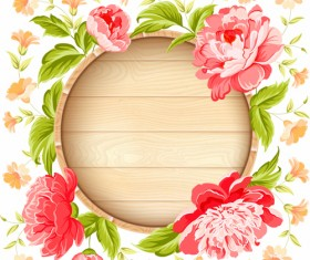 Pink flowers with vintage cards vectors 04