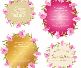 Pink flowers with vintage cards vectors 05