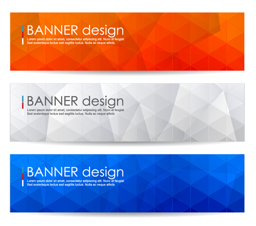 polygonal modern banner vector set 02 free download