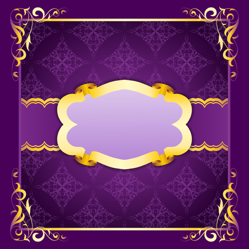 Purple Retro Background With Golden Frame Vector Free Download
