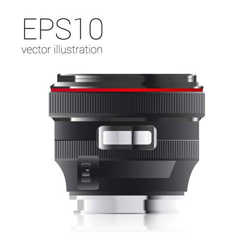 Realistic camera lens vector design set 01