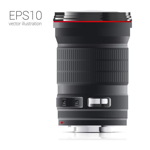 Realistic camera lens vector design set 03
