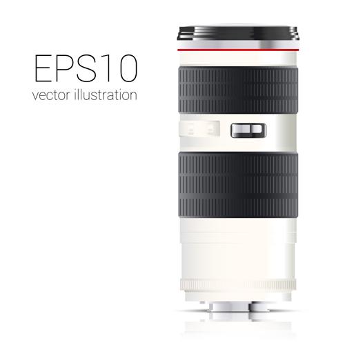 Realistic camera lens vector design set 04
