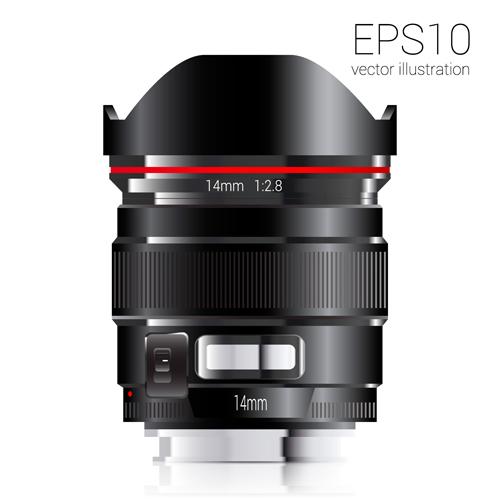 Realistic camera lens vector design set 05