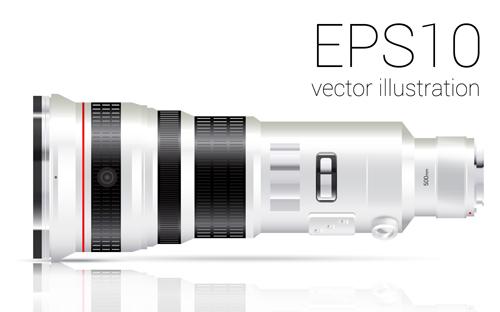 Realistic camera lens vector design set 06
