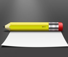 Realistic pencil with paper psd material