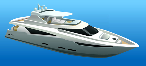 Realistic yacht model design 04 vector